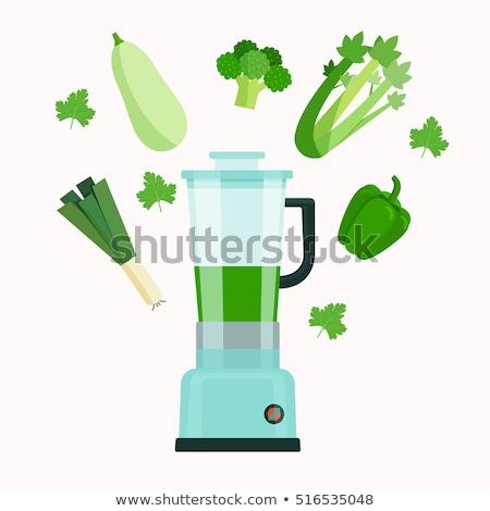 Zöld smoothie zöld organikus zöldségek spárga vegetáriánus Stock fotó © artjazz