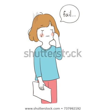 Triest kid meisje gezegde typografie Stockfoto © lenm