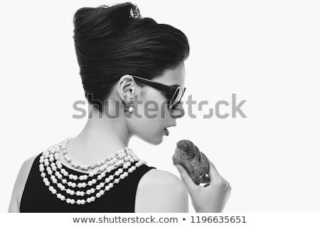 Gyönyörű fiatal nő retró stílus croissant ruha kellékek Stock fotó © svetography
