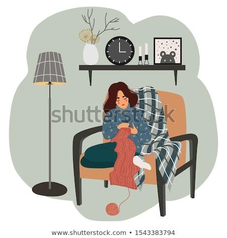 Stock fotó: Köt · nő · szék · lány · macska · otthon