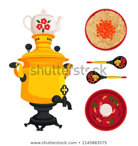 Samovar and Borshch Dish Set Vector Illustration Stock photo © robuart