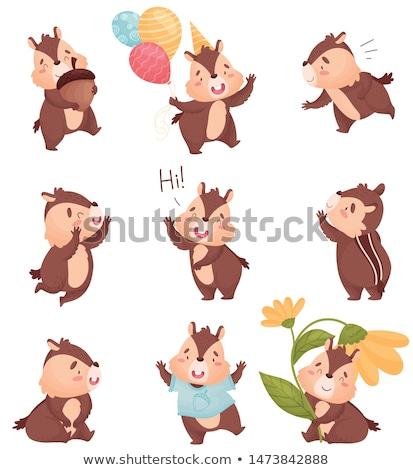 Karikatür çizgili sincap sevmek örnek bebek hayvan Stok fotoğraf © cthoman
