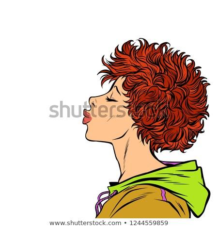 Vrouw kus profiel meisjes 80s Stockfoto © studiostoks