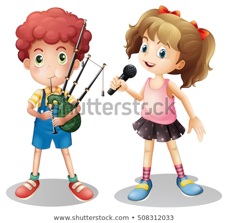 Boy playing bagpipe and girl singing Stock photo © colematt