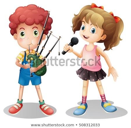 Jongen spelen meisje zingen illustratie kind Stockfoto © colematt