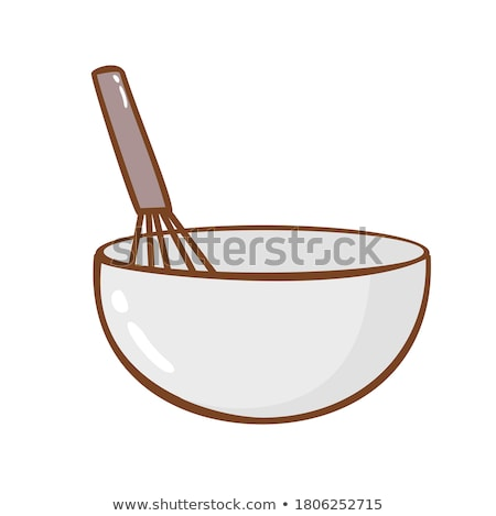 White plastic bowl and metal whisk 3D Stock photo © djmilic