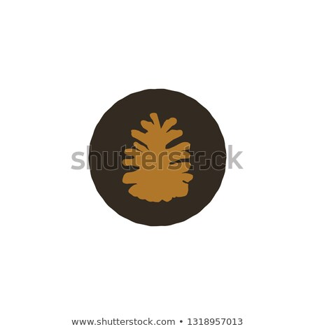 Pine cone patch. Simple nature shape. Retro distressed design. Stock isolated on white background Stock photo © JeksonGraphics