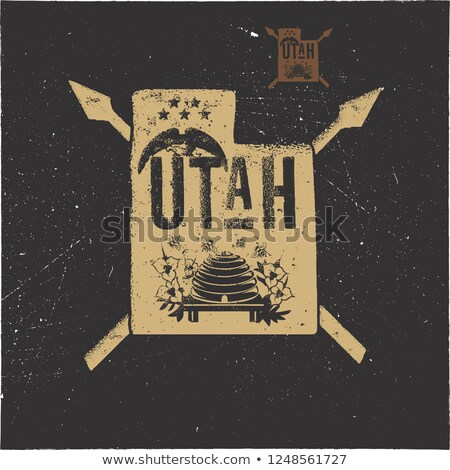retro utah poster with local symbols usa state badge isolated on distressed background perfect for stock photo © jeksongraphics