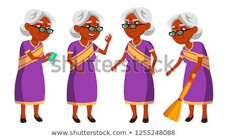 Indian Old Woman In Sari Vector. Elderly People. Hindu. Asian. Senior Person. Aged. Active Grandpare Stock photo © pikepicture