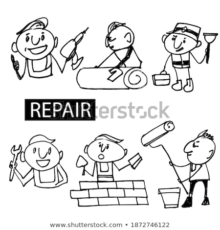 Doodle heureux pompier personnage illustration travaux Photo stock © colematt
