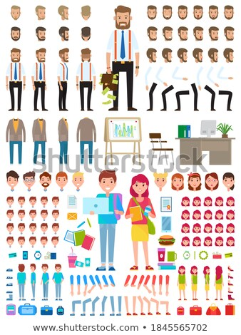 Young Teenager Animated Icons Construction Vector Stock photo © robuart