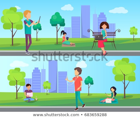 People Spend Time in Park Cartoon Vector Banner Stock photo © robuart