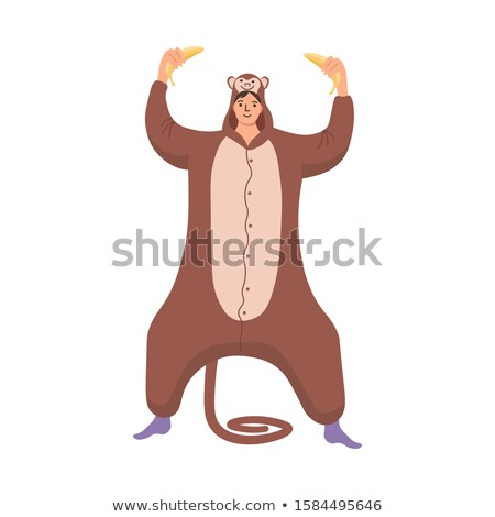 Cartoon Smiling Chimpanzee In Pajamas Stock photo © cthoman