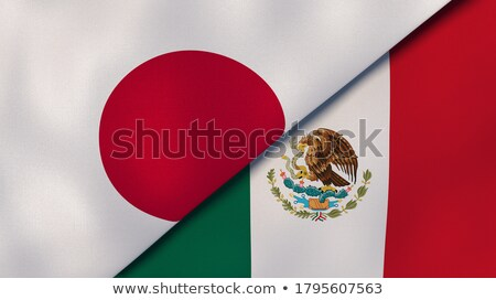 Dois bandeiras Japão México isolado Foto stock © MikhailMishchenko