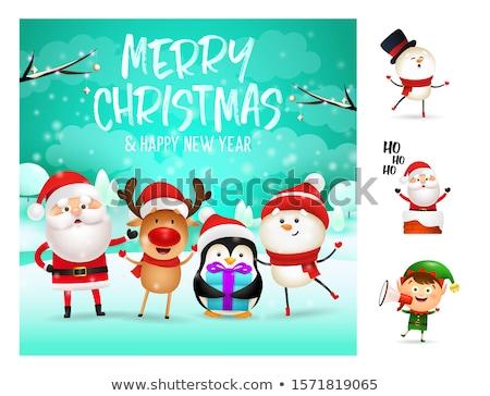 陽気な クリスマス サンタクロース 鹿 ヘルパー 碑文 ストックフォト © robuart