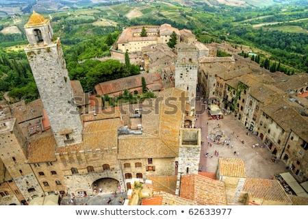 eski · taş · towers · Toskana · İtalya · görmek - stok fotoğraf © boggy