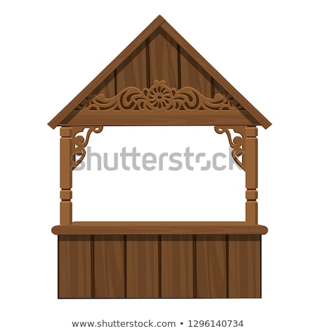 trading tent made of wood isolated on white background vector cartoon close up illustration stock photo © lady-luck