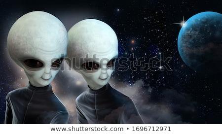 Három UFO bolygó illusztráció textúra természet Stock fotó © colematt