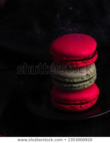 renkli · fransız · macarons · beyaz · gıda · kahve - stok fotoğraf © dashapetrenko
