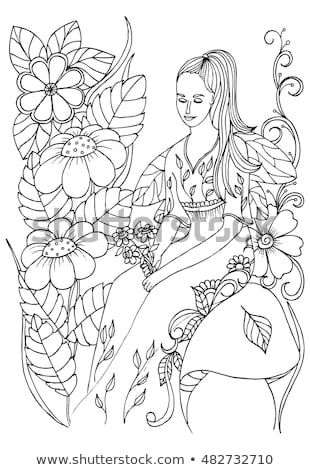 Coloring book fairy sitting on mushroom Stock photo © clairev