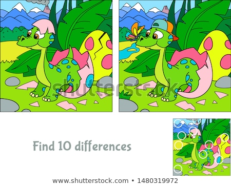 Divertente dinosauri trovare 10 differenze educativo Foto d'archivio © Natali_Brill