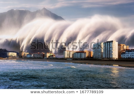 tsunami · örnek · şehir · okyanus · kentsel · dalgalar - stok fotoğraf © bluering