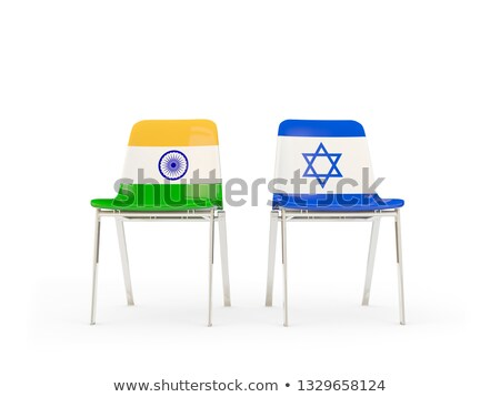 Zdjęcia stock: Two Chairs With Flags Of India And Israel