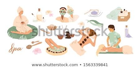 Massage ontspannen vrouw ingesteld vector spa Stockfoto © robuart