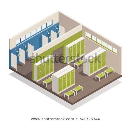 вектора изометрический раздевалка школы спортзал душу Сток-фото © tele52