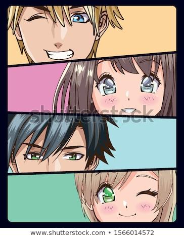 lányok · szemek · illusztráció · japán · anime · stílus - stock fotó © Blue_daemon