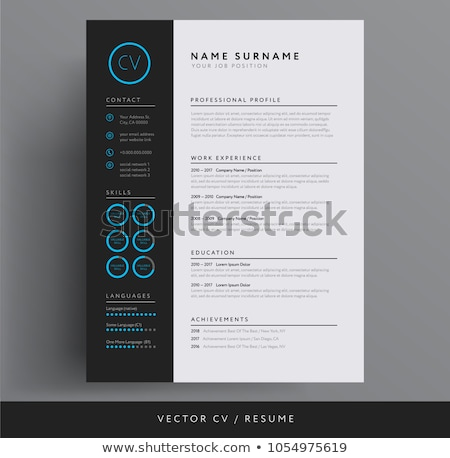 Minimalist dark resume cv template Stock photo © orson