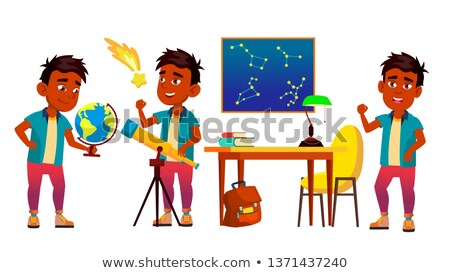 Astronomy, Astrophysics Student Vector Cartoon Characters Set ストックフォト © pikepicture