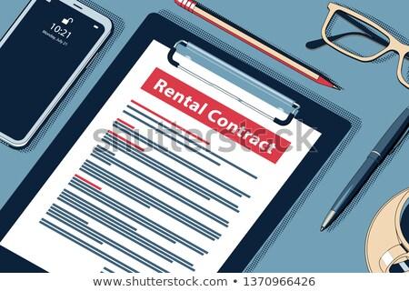 Сток-фото: Rental Contract Concept. Vector Halftone Isometric Illustration.