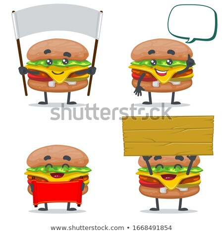 Hamburger rajzfilmfigura tart üres tábla izolált fehér Stock fotó © hittoon