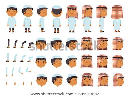 Stockfoto: Ingesteld · moslim · karakter · illustratie · gezicht · gelukkig