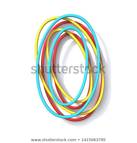 Three basic color wire font number 0 ZERO 3D Stock photo © djmilic