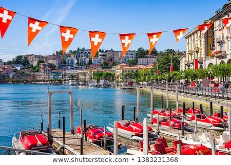 Suisse historique bâtiment vieux ville fleurs Photo stock © borisb17