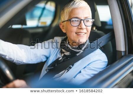 幸せ · 笑みを浮かべて · シニア · 女性 · 黒 · 車 - ストックフォト © lopolo