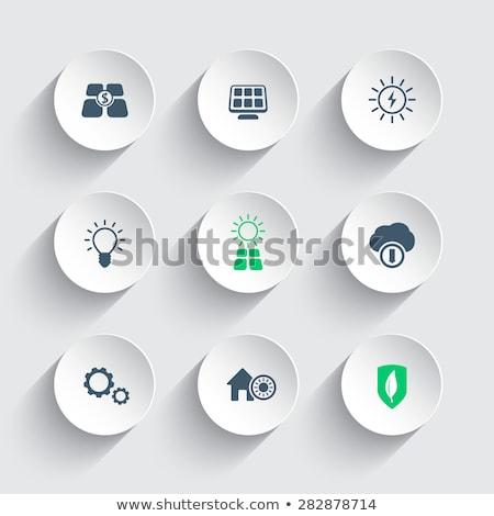 Zonne-energie app interface sjabloon zakenlieden produceren Stockfoto © RAStudio
