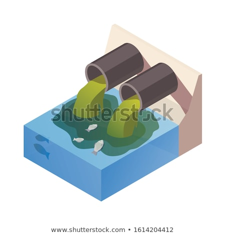 water pollution river with sewer and dirt waste stock photo © robuart