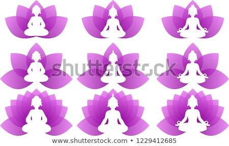 йога · Purple · Lotus · набор · логотип - Сток-фото © Blue_daemon