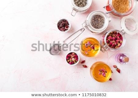 two cup of herbal tea dry herbs and flowers herbal medicine stock photo © illia