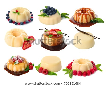 creme caramel desserts strawberries stock photo © danielgilbey