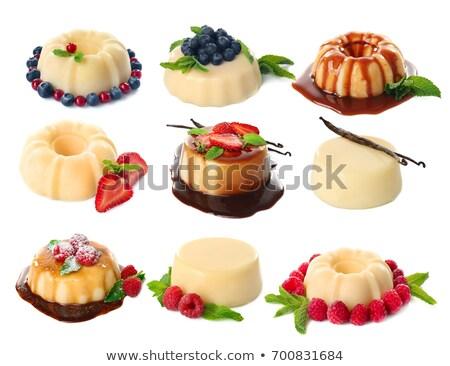 Karamel desserts aardbeien ondiep achtergrond Stockfoto © danielgilbey