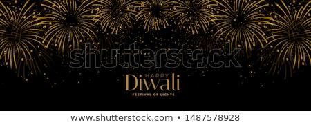 happy diwali fireworks black and gold banner stock photo © sarts