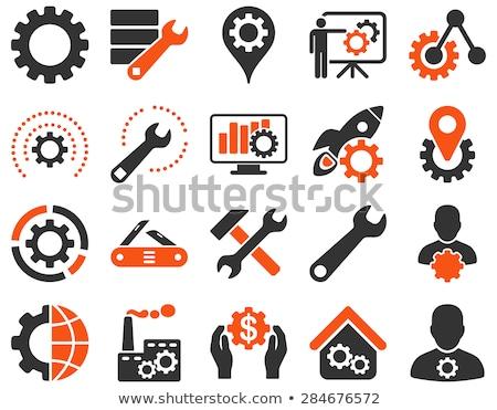 Mãos aplicação ícones laranja composição digital computador Foto stock © wavebreak_media