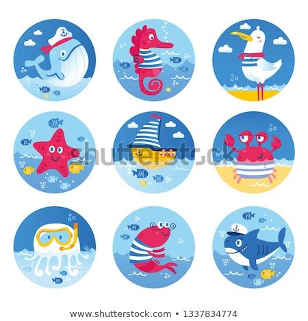 Naklejki rekina cartoon żółty plaży uśmiech Zdjęcia stock © cidepix