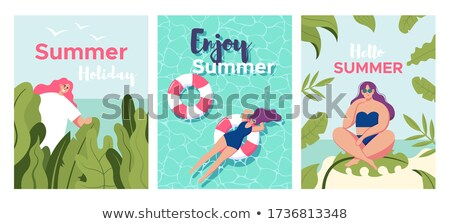 beach holiday   flat design style vector characters set stock photo © decorwithme