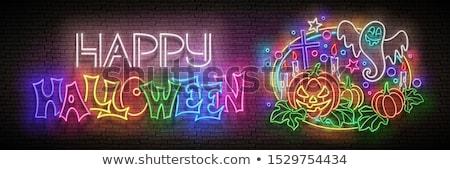 mutlu · halloween · satış · neon · kabak · karga - stok fotoğraf © lissantee