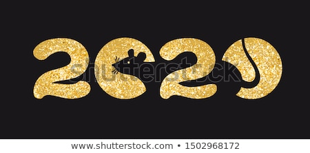 Chinese new year 2020 gold glitter rat icon card Stock photo © cienpies
